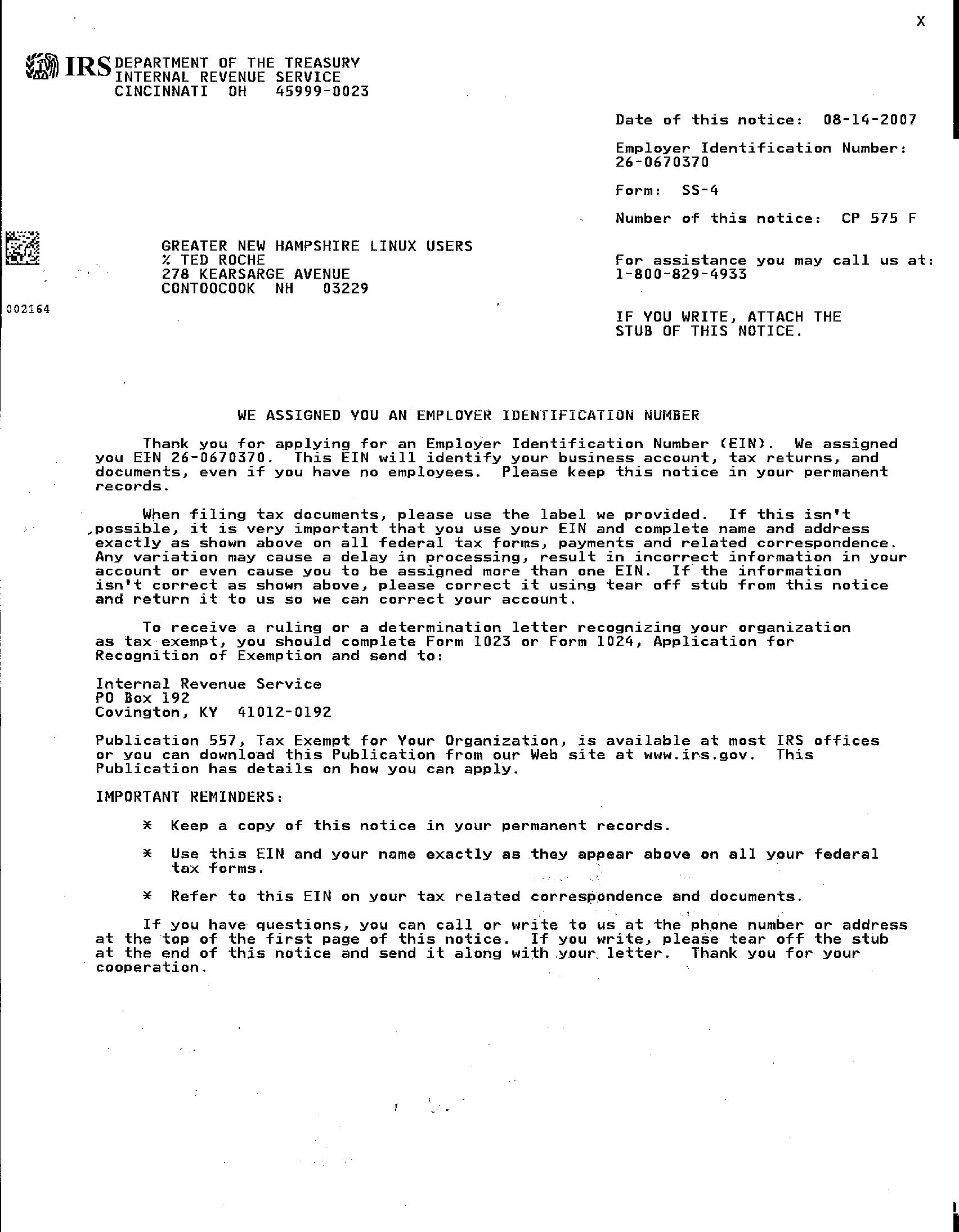 Irs Ss4 Letter Honghankk